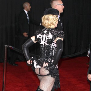 Madonna arrives at the 57th Annual Grammy Awards