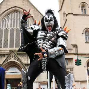 Gene Simmons sticks out his tongue at the 2014 Macy's Thanksgiving Parade in NYC